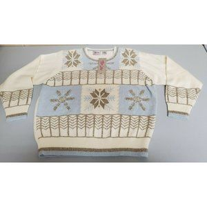 TanJay Embroider Snowflake Northern Lights Sweater